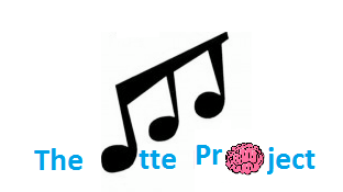 The Ette Project logo. Which consists of the words The Ette Project with an E in Ette being a musical note and a brain that represents the O in Project.